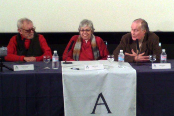 Jess Franco, Lina Romay y Jack Taylor durante el coloquio en la Academia.