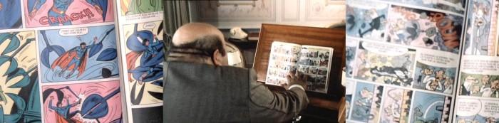 Víctor Mendes se pasa la peli leyendo tebeos de superhéroes y de Mortadelo y Filemón, otro detalle puramente franquiano.